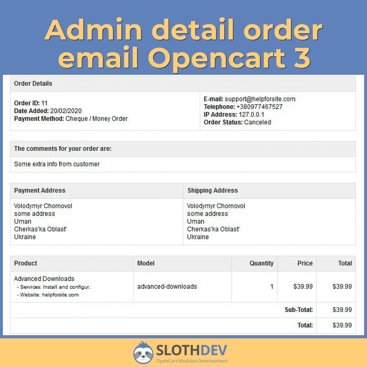 Admin detail order email Opencart 3