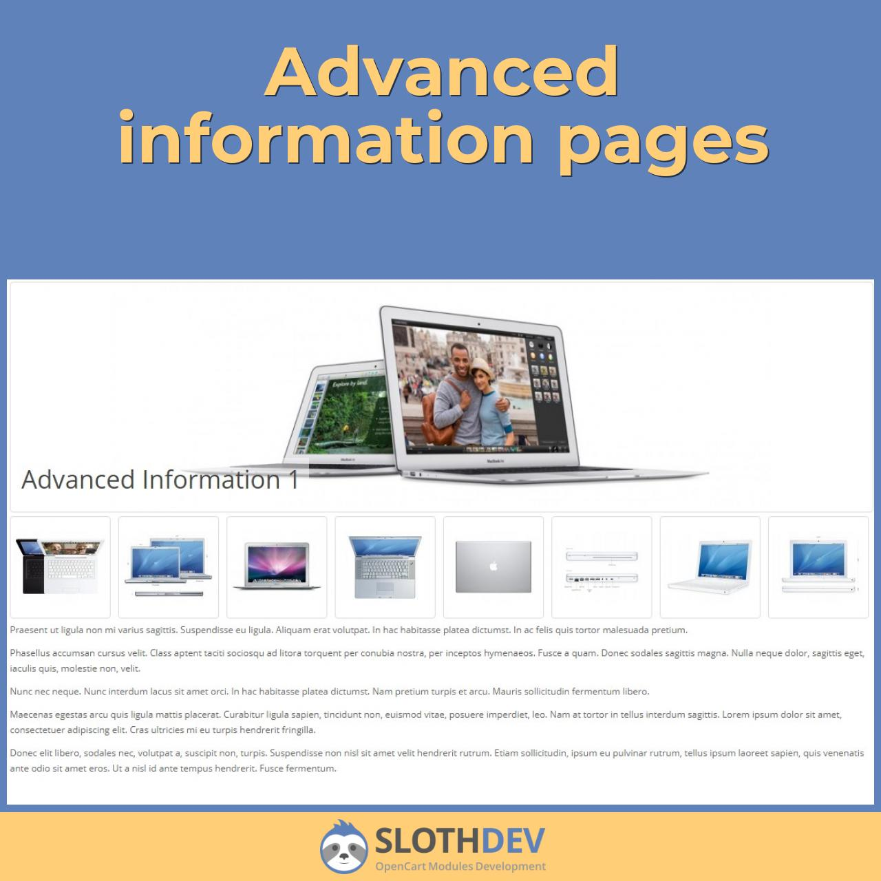 Advanced information pages
