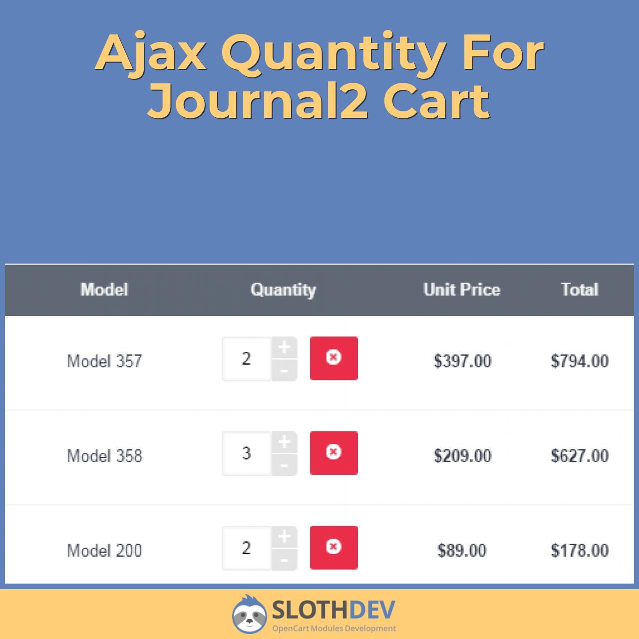 Ajax Quantity For Journal2 Cart