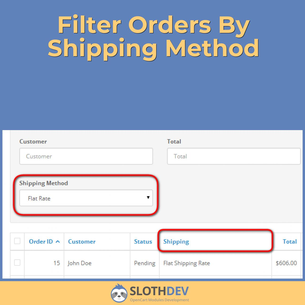 Filter Orders By Shipping Method
