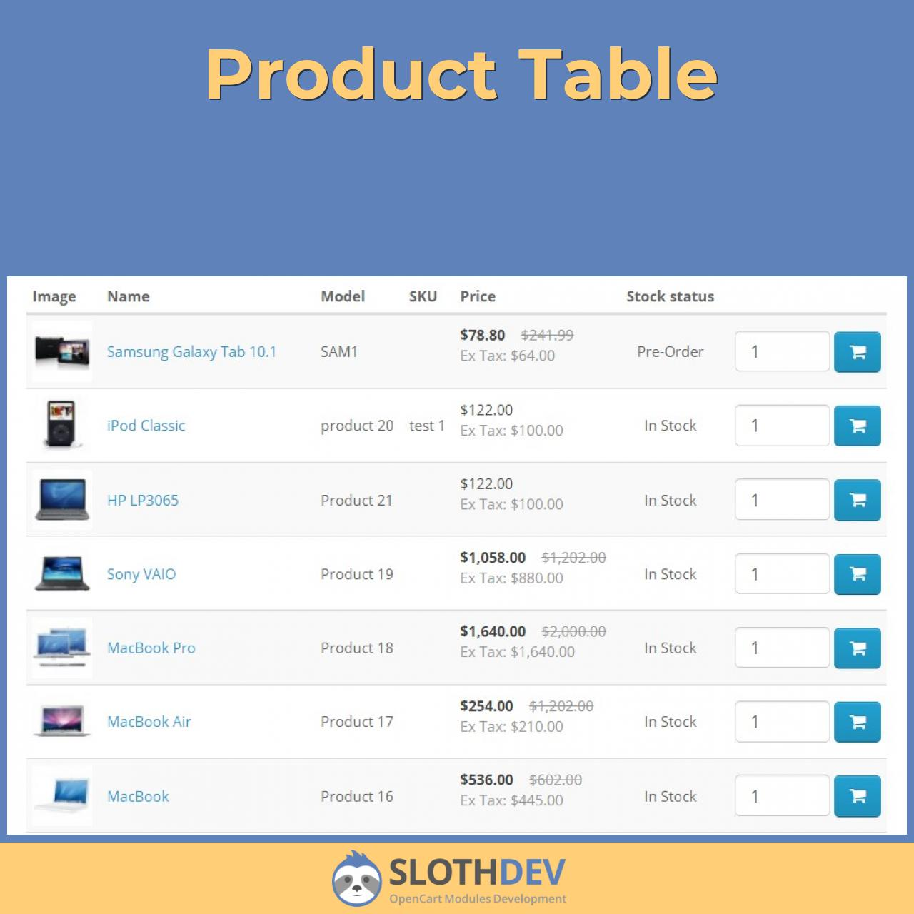 Product Table