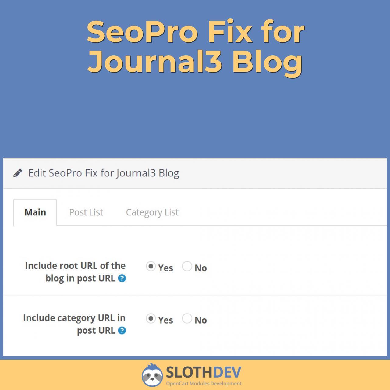 SeoPro Fix for Journal3 Blog