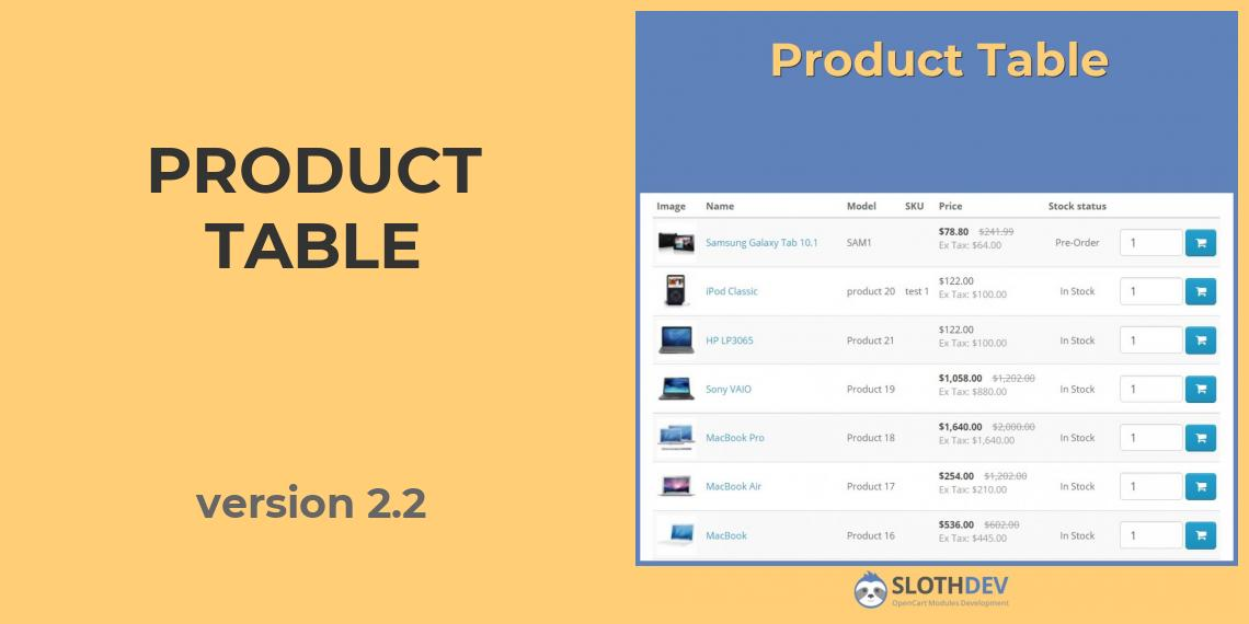Product Table version 2.2
