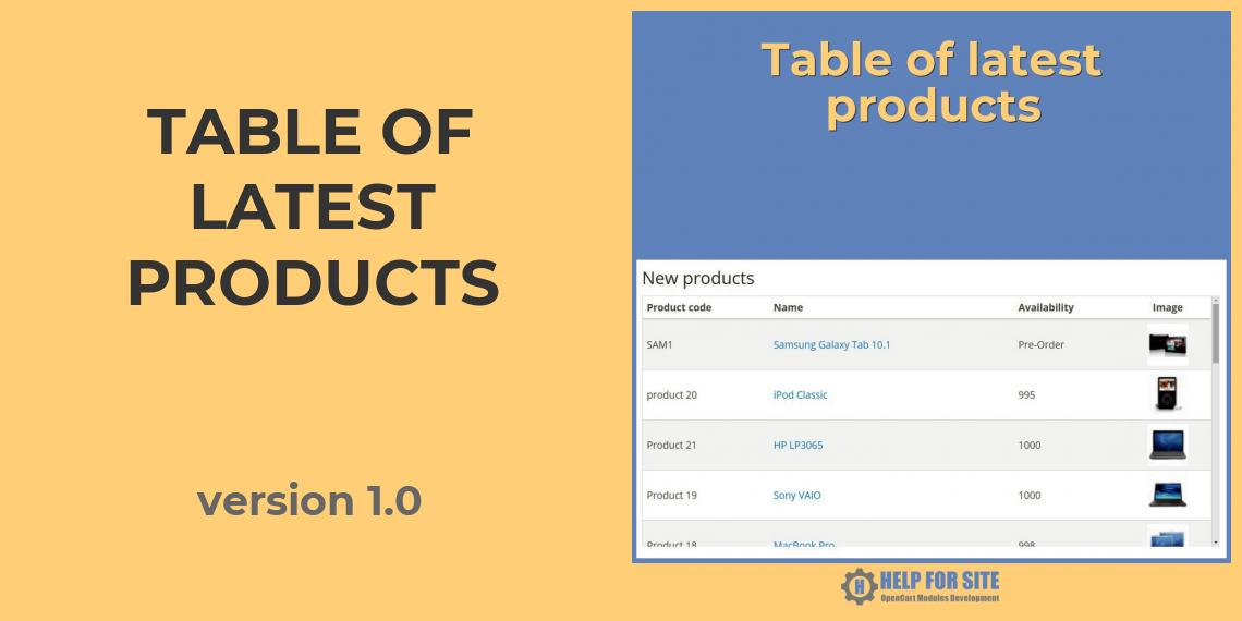 Table of latest products version 1.0